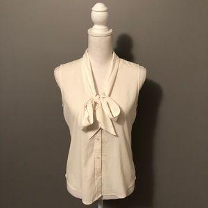 Button-Down Neck-Tie Tank Top Blouse